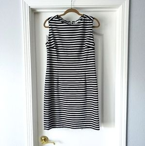 Calvin Klein Navy and White Striped Sheath Dress